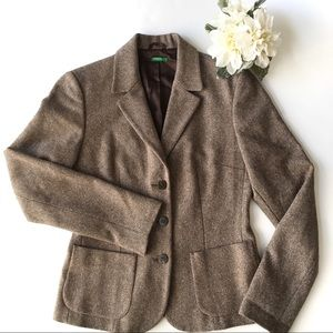 Unided Colors of Benetton Womens Wool Brown Blazer
